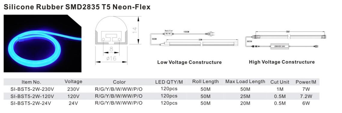 Silicone Rubber SMD2835 T5 Neon-Felx
