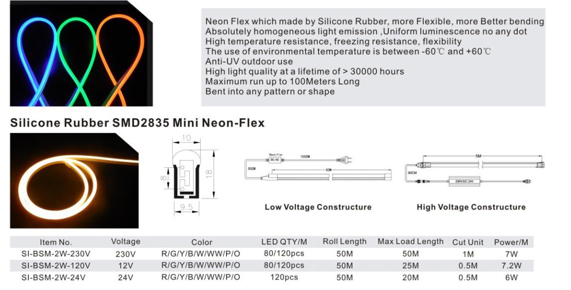 Silicone Rubber SMD2835 Mini Neon-Flex